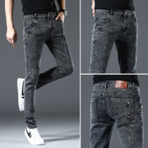 Jeans Youth fashion Others 27,28,29,30,31,32,33,34,36 Plush and thicken Micro bomb Regular denim eight thousand nine hundred and fifteen trousers Other leisure autumn teenagers middle-waisted Slim feet Basic public 2020 Little straight foot zipper Multiple pockets