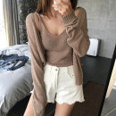 Wool knitwear Autumn of 2018 Average size White Khaki Gray Black Pink Long sleeves Two piece set Cardigan other 31% (inclusive) - 50% (inclusive) Regular routine commute easy other routine Solid color Korean version eight thousand one hundred and thirteen Other / other