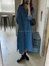 shirt Light blue, dark blue Average size Autumn 2020 other 31% (inclusive) - 50% (inclusive) Long sleeves commute Medium length Solid color Korean version Cotton denim