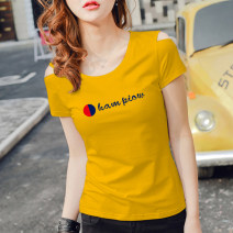 T-shirt S,M,L,XL,2XL,3XL Summer 2020 Short sleeve One word collar Self cultivation Regular routine commute cotton 86% (inclusive) -95% (inclusive) 18-24 years old Korean version originality letter 3D, printing