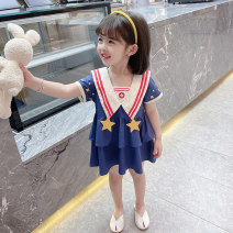 Dress blue female Other / other 90cm tag 90 is suitable for 1-2 years old, 100cm tag 100 is suitable for 2-3 years old, 110cm tag 110 is suitable for 3-4 years old, 120cm tag 120 is suitable for 4-5 years old, 130cm tag 130 is suitable for 5-6 years old summer Korean version Short sleeve stars cotton