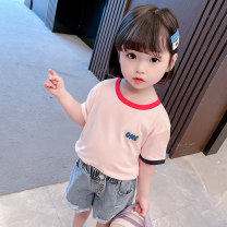 T-shirt White, blue, pink Other / other female summer Short sleeve Crew neck Korean version There are models in the real shooting nothing cotton letter Cotton 95% polyurethane elastic fiber (spandex) 5% XDXFSX123 Class A Sweat absorption Chinese Mainland