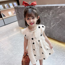 Dress Beige female Other / other 90cm tag 90 is suitable for 1-2 years old, 100cm tag 100 is suitable for 2-3 years old, 110cm tag 110 is suitable for 3-4 years old, 120cm tag 120 is suitable for 4-5 years old, 130cm tag 130 is suitable for 5-6 years old summer Korean version Short sleeve Dot Chiffon