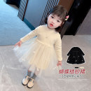 Dress Black, beige female Other / other Cotton 95% polyurethane elastic fiber (spandex) 5% spring and autumn Korean version Long sleeves Solid color cotton A-line skirt XDXFSQ23 Class A 3 months, 12 months, 6 months, 9 months, 18 months, 2 years old, 3 years old, 4 years old, 5 years old, 6 years old