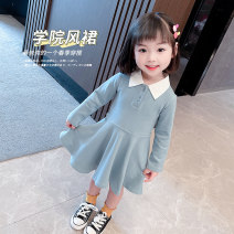 Dress Black, blue female Other / other Cotton 95% polyurethane elastic fiber (spandex) 5% spring and autumn Korean version Long sleeves Solid color cotton A-line skirt XDXFSQ29 Class A 3 months, 12 months, 6 months, 9 months, 18 months, 2 years old, 3 years old, 4 years old, 5 years old, 6 years old