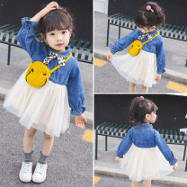Dress blue female Other / other Cotton 65% polyethylene terephthalate (polyester) 35% spring and autumn princess Long sleeves Solid color Cotton denim Splicing style Class A 3 months, 12 months, 6 months, 9 months, 18 months, 2 years old, 3 years old, 4 years old, 5 years old, 6 years old