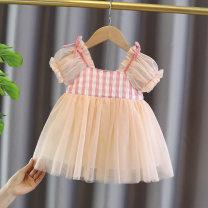 Dress Orange pink female Other / other 80cm tag 80 is suitable for 0-1 years old, 90cm tag 90 is suitable for 1-2 years old, 100cm tag 100 is suitable for 2-3 years old, 110cm tag 110 is suitable for 3-4 years old Cotton 95% polyurethane elastic fiber (spandex) 5% summer Korean version Short sleeve