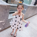 Dress white female Other / other 90cm tag 90 is suitable for 1-2 years old, 100cm tag 100 is suitable for 2-3 years old, 110cm tag 110 is suitable for 3-4 years old, 120cm tag 120 is suitable for 4-5 years old, 130cm tag 130 is suitable for 5-6 years old summer Korean version Short sleeve Dot cotton
