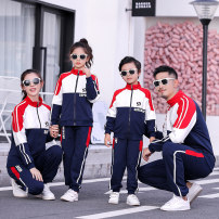 Parent child fashion navy blue A family of three Male and female Wej on School uniform parents and children spring and autumn leisure time routine other suit cotton L M S XL XXL XXXL KP9108 Cotton 70% polyester 25% polyurethane elastic fiber (spandex) 5% Class B M L XL XXL Autumn of 2019
