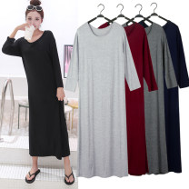 Dress Autumn of 2018 longuette singleton  Long sleeves commute Crew neck Loose waist Solid color Socket routine Korean version More than 95% other modal