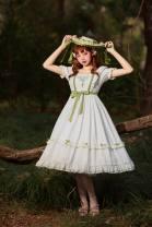 Lolita / soft girl / dress Rainbow silk white S,M,L Customized