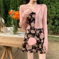 Dress Summer 2020 S,M,L,XL Short skirt Two piece set Long sleeves commute V-neck High waist Decor Socket A-line skirt routine camisole Type A Korean version