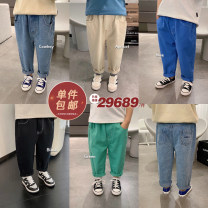 trousers Chen Chen's mother male 80, 90, 100, 110, 120, 130, 140 spring and autumn trousers leisure time There are models in the real shooting Jeans Leather belt middle-waisted cotton Don't open the crotch 12 months, 9 months, 18 months, 2 years old, 3 years old, 4 years old, 5 years old, 6 years old