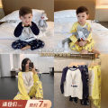 Parent child fashion Yellow, Navy, yellow pants, Navy Pants Mother and son Female, male, neutral Chen Chen's mother Mom s, mom m, mom L, 80, 90, 100 (model fit), 110, 120, 130, 140, mom XS GB1680 spring and autumn leisure time routine Cartoon animation Pajamas / housewear GB1680 Other 100%