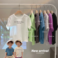 T-shirt White, black, purple, blue, fruit green, light gray, dark gray Chen Chen's mother 80, 90, 100, 110, 120, 130, 140 male spring and autumn Short sleeve Crew neck leisure time There are models in the real shooting nothing cotton other Cotton 98% other 2% B2047