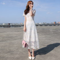 Dress Summer of 2018 white S,M,L,XL Mid length dress singleton  Sweet 25-29 years old other