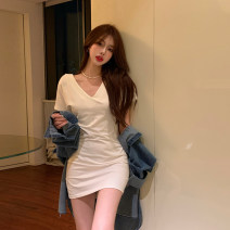 Dress Summer 2021 white Average size Short skirt singleton  Short sleeve commute V-neck High waist Solid color other routine Others 18-24 years old Other / other Korean version other