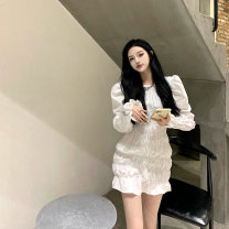 Dress Spring 2021 White, black S, M Middle-skirt singleton  Long sleeves commute Crew neck High waist Solid color other puff sleeve Others 18-24 years old Other / other Korean version