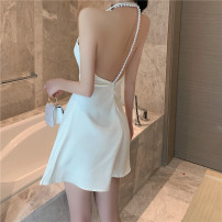 Dress Summer 2021 White, black S,M,L Short skirt singleton  Sleeveless commute other High waist Solid color other A-line skirt other Hanging neck style 18-24 years old Type A Other / other Korean version