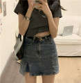 skirt Spring 2021 S,M,L Graph color Short skirt commute High waist Denim skirt Type A 18-24 years old Other / other Korean version