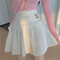 skirt Summer 2021 S,M,L White, black Short skirt commute High waist A-line skirt Solid color Type A 18-24 years old Other / other Korean version