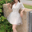 Dress Summer 2021 White, black S, M Mid length dress singleton  Short sleeve commute tailored collar High waist Solid color A-line skirt routine Others 18-24 years old Type A Other / other Korean version 31% (inclusive) - 50% (inclusive)