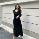 Dress Spring 2021 Black, gray Average size longuette singleton  Long sleeves commute Crew neck High waist Solid color Socket routine Others 18-24 years old Type A Other / other Korean version knitting cotton