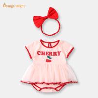 Dress Pink female Orange Knight 66cm,73cm,80cm,90cm,59cm Cotton 95% other 5% summer Korean version Short sleeve Cartoon animation cotton Pleats CZ000373 Class A 3 months, 6 months, 12 months, 18 months, 2 years old, 9 months Chinese Mainland Guangdong Province