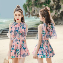 one piece  other M,L,XL,XXL,XXXL Pink, light blue With chest pad without steel support Nylon, spandex, polyester, others female Sleeveless Casual swimsuit