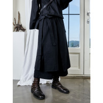 Casual pants black Average size Autumn 2020 Ninth pants Wide leg pants Natural waist original thickening 25-29 years old 96% and above cotton pocket cotton Asymmetry
