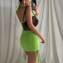 Dress Summer 2020 green S,M,L Short skirt singleton  street High waist Hanging neck style 18-24 years old Sisjuly D1736028 91% (inclusive) - 95% (inclusive) polyester fiber Europe and America
