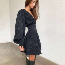 Dress Winter of 2019 black S,M,L Short skirt singleton  Long sleeves street V-neck High waist puff sleeve 18-24 years old Sisjuly D1735131 91% (inclusive) - 95% (inclusive) polyester fiber Europe and America