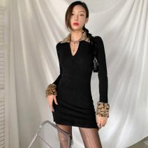 Dress Winter 2020 black S,M,L Short skirt singleton  Long sleeves street V-neck High waist 18-24 years old Sisjuly K20D09931 91% (inclusive) - 95% (inclusive) cotton Europe and America