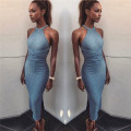 Dress Spring 2017 Grey blue S M L longuette singleton  Sleeveless Hanging neck style 18-24 years old Type H D1710138