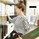 T-shirt Black, red, blue S,M,L,XL Autumn of 2019 three quarter sleeve Crew neck easy Regular Bat sleeve commute cotton 96% and above 18-24 years old Korean version classic Thin horizontal stripe Gullah 2016# fold