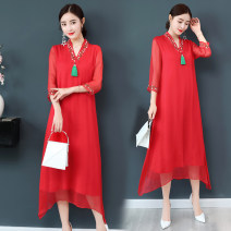 Dress Summer of 2019 Red V-neck S,M,L,XL,2XL,3XL Mid length dress singleton  three quarter sleeve commute V-neck Loose waist Solid color Socket A-line skirt routine Others Type A Hongwang factory Retro Three dimensional decoration, zipper, 3D 71% (inclusive) - 80% (inclusive) Silk and satin silk