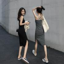 Dress Autumn of 2019 Gray, black Average size (160 / 84A) Mid length dress singleton  Sleeveless commute Crew neck Solid color Socket One pace skirt other camisole 18-24 years old Type H Other / other Retro