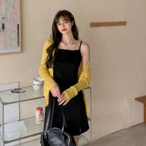 Women's large Summer 2021 Sunscreen, suspender dress Large L, large XL, large 2XL, large 3XL, large 4XL Dress Two piece set commute easy moderate Long sleeves Solid color routine polyester Three dimensional cutting 31% (inclusive) - 50% (inclusive)
