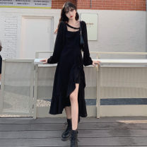 Dress Spring 2021 black M [recommended 80-100 Jin], l [recommended 100-120 Jin], XL [120-140 Jin], 2XL [140-160 Jin recommended], 3XL [160-180 Jin recommended], 4XL [180-200 Jin recommended] Mid length dress singleton  Long sleeves commute Crew neck High waist Dot routine 18-24 years old
