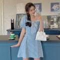 Dress Summer 2021 blue M,L,XL,2XL,3XL,4XL Middle-skirt singleton  commute middle-waisted lattice Korean version 31% (inclusive) - 50% (inclusive)