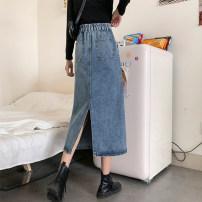 Women's large Summer 2021 blue Large XL, large XXL, large XXL, large XXXXL, large L skirt singleton  commute moderate Solid color Korean version Denim Make old = three . twenty-three 81% (inclusive) - 90% (inclusive) Medium length