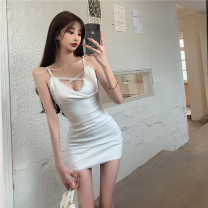 Dress Summer 2021 White, black Average size Short skirt Sleeveless commute High waist Solid color other camisole 18-24 years old Type H Korean version 31% (inclusive) - 50% (inclusive)