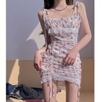 Dress Summer 2021 Floral skirt S,M,L Short skirt singleton  Sleeveless commute High waist Decor other 18-24 years old Korean version 31% (inclusive) - 50% (inclusive)