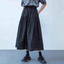 skirt Summer 2020 S,M,L black longuette Versatile Natural waist Little black dress Solid color Type A 18-24 years old More than 95% other wax and wane cotton