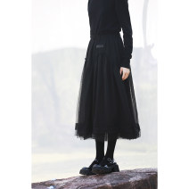 skirt Spring 2021 S,M,L Black, blue Mid length dress Versatile High waist Irregular Solid color Type A 18-24 years old More than 95% other wax and wane polyester fiber
