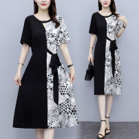 Women's large Summer 2021 black Large XL, large XXL, large XXL, large XXXXL, large XXXXL, large L Dress singleton  commute easy thickening Socket Long sleeves Dot, solid square neck Medium length Nylon, others Three dimensional cutting routine 8268# AJ fashion size 25-29 years old Lace stitching