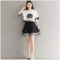Dress Summer 2020 S,M,L,XL,2XL Short skirt Two piece set Short sleeve commute Crew neck High waist Cartoon animation Socket A-line skirt routine Others 18-24 years old Type A Other / other Korean version Screen, printing 51% (inclusive) - 70% (inclusive) organza  cotton