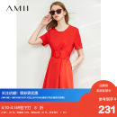 Dress Summer 2020 Black, red, beige, description 150/76A/XS,170/92A/XL,160/84A/M,.,165/88A/L,155/80A/S longuette singleton  Short sleeve commute Crew neck Loose waist Solid color Socket A-line skirt routine Others 18-24 years old Type A Amii QZ-1206TM0043 51% (inclusive) - 70% (inclusive) other
