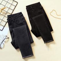 Jeans Spring 2021 Gray, black M (recommended 90-100 kg), l (recommended 100-115 kg), XL (recommended 115-130 kg), 2XL (recommended 130-145 kg), 3XL (recommended 145-160 kg), 4XL (recommended 160-200 kg) trousers High waist Pencil pants routine Cotton elastic denim Dark color Ocnltiy