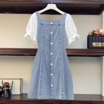 Women's large Summer 2021 Picture color Large XL, large XXL, large XXL, large XXXXL, large XXXXL, large L Dress singleton  commute easy moderate Socket Short sleeve Solid color Korean version square neck Denim Three dimensional cutting routine Ocnltiy 25-29 years old Lace stitching Medium length
